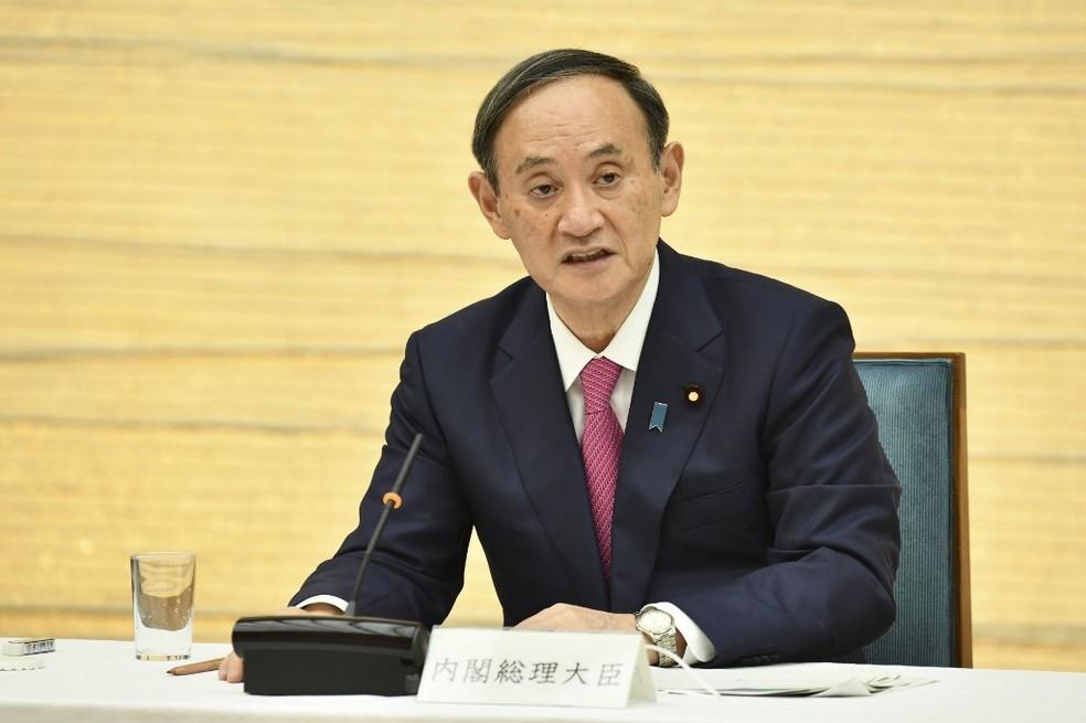 O primeiro-ministro do Japão, Yoshihide Suga, em foto de 22 de janeiro — Foto: Kazuhiro Nogi/AFP