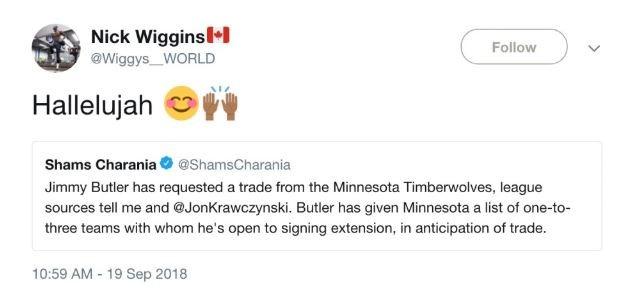Irmão de Andre Wiggins comemora notícia sobre provável troca de Butler