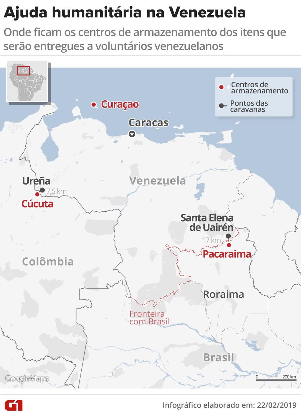 Infográfico sobre ajuda humanitária à Venezuela — Foto: Igor Estrella/G1
