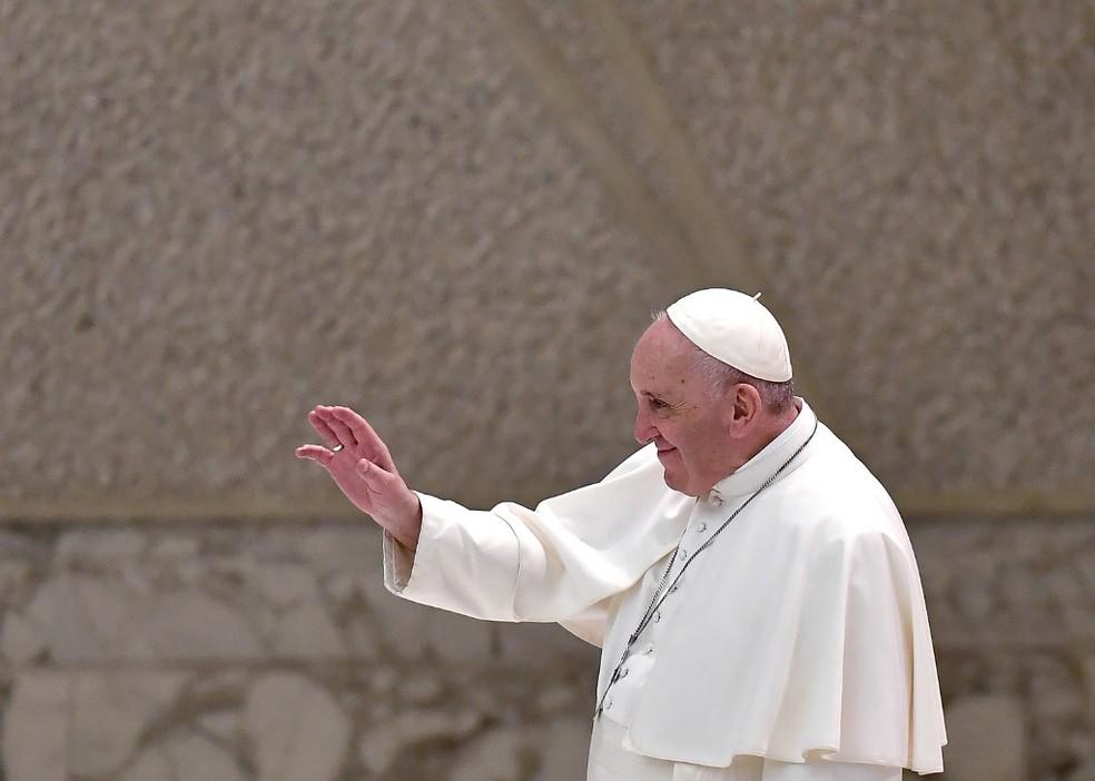 Papa Francisco durante a audiência geral desta quarta-feira (28) — Foto: Tiziana Fabi/AFP