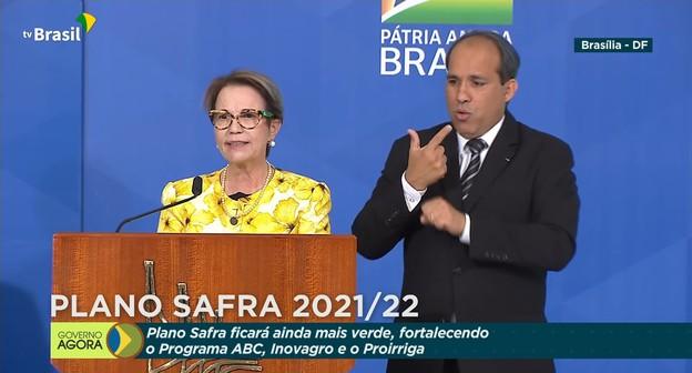 Ministra Tereza Cristina durante lançamento do Plano Safra 2021/22