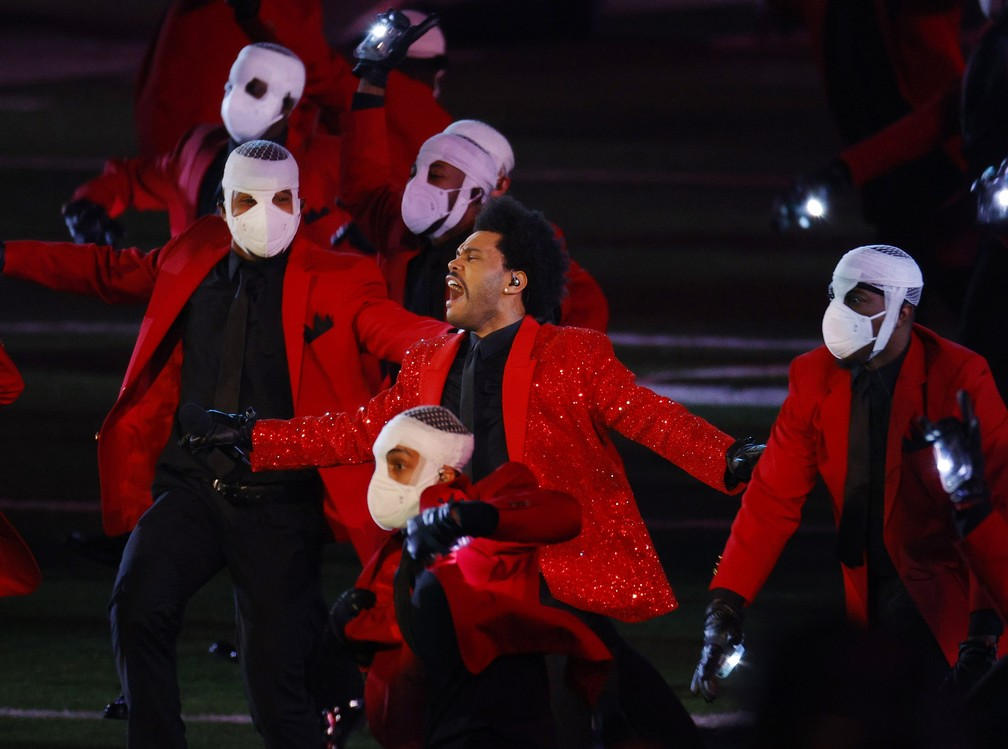 The Weeknd show do intervalo do super bowl lv — Foto: REUTERS/Brian Snyder