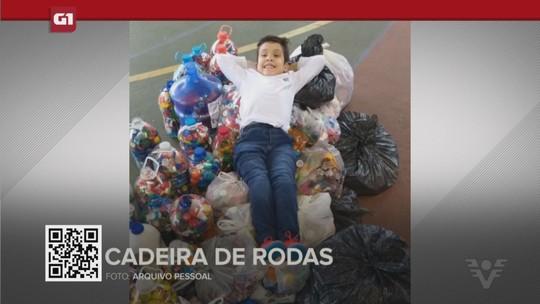 G1 em 1 minuto - Santos:Família de menino com medula exposta busca 1 milhão de tampinhas