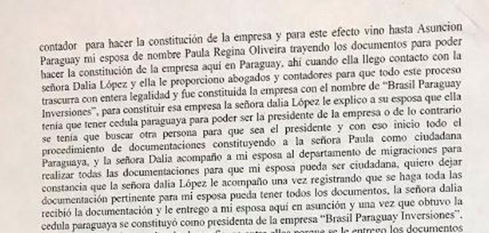 Trecho do depoimento de Wilmondes detalha constituição da empres — Foto: Reprodução