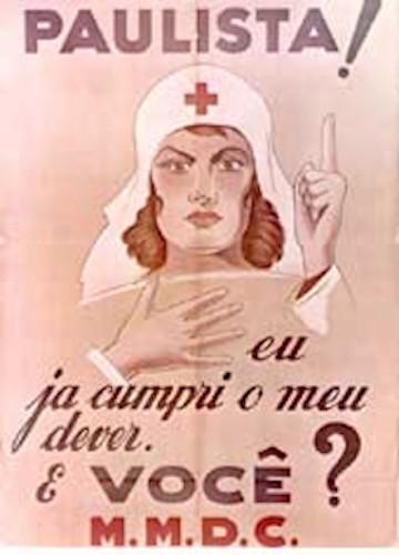 Cartaz pedindo o alistamento de paulistas no levante constitucionalista, em 1932