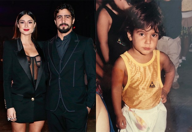 Thaila Ayala e Renato Góes (adulto e na infância) (Foto: Manuela Scarpa e Rafael Cusato/Brazil News; Reprodução/Instagram)