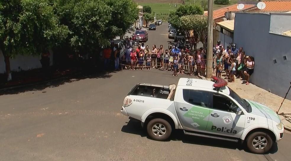Moradores foram ver a onça em bairro de Jales — Foto: Reprodução/TV TEM