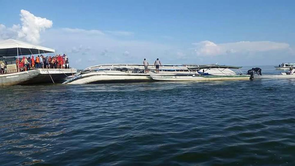 Equipes trabalham na busca de desaparecidos após naufrágio de um barco no Rio Xingu, na região de Ponte Grande do Xingu, entre Porto de Moz e Senador José Porfírio, no Pará (Foto: Paulo Vieira/Arquivo Pessoal)