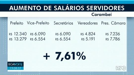 Prefeito, vereadores e servidores de Carambeí recebem reajuste salarial de 7,61%