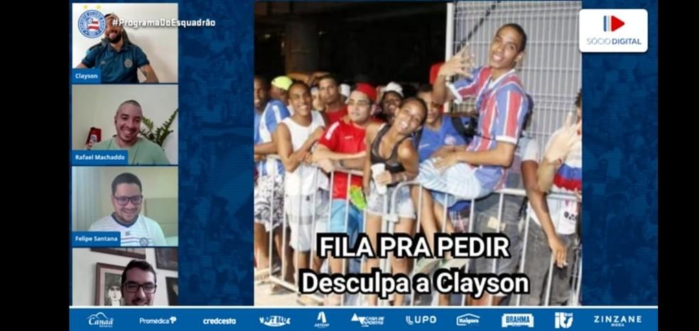 Clayson se diverte com memes após gol e assistência contra o Vasco — Foto: Reprodução  / EC Bahia