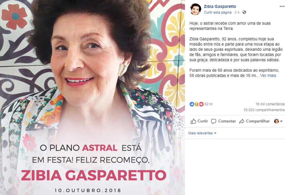 Família postou mensagem sobre a morte de Zibia Gasparetto — Foto: Reprodução/Facebook/Zibia Gasparetto
