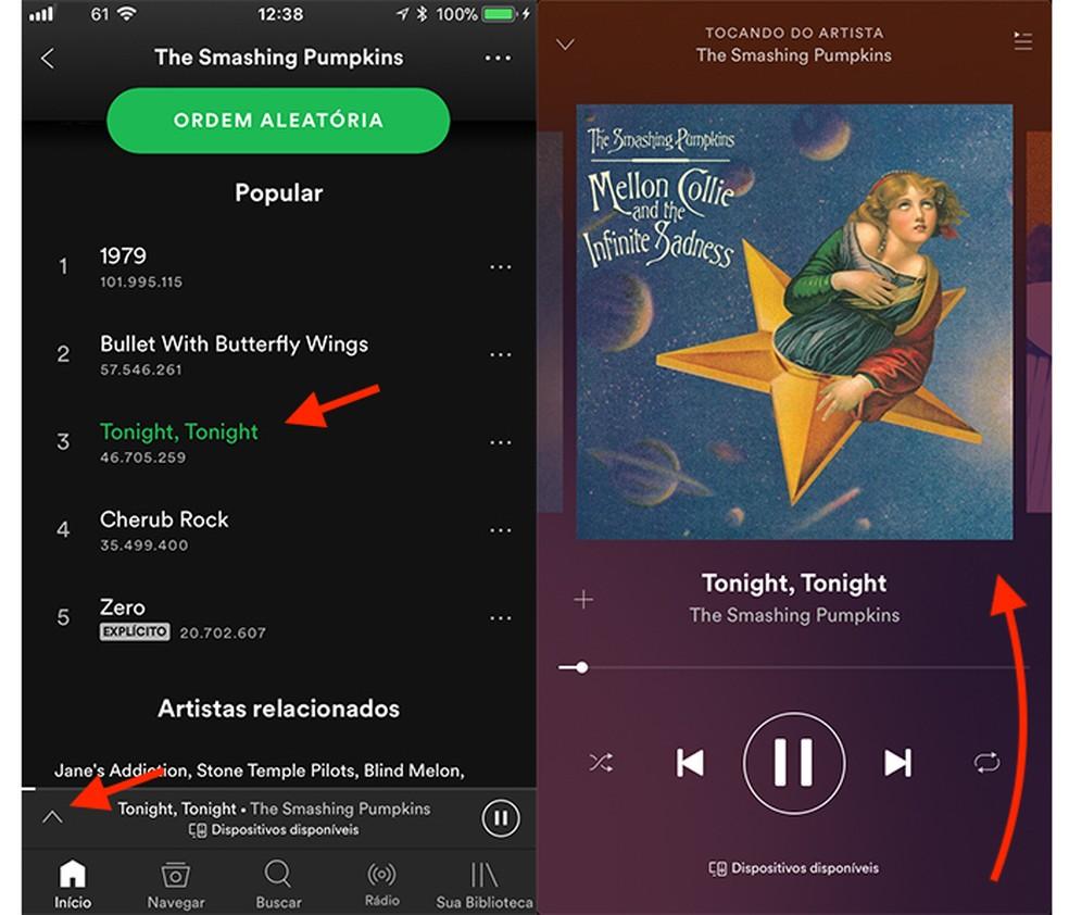 Opção para iniciar uma faixa no Spotify e ação para abrir a central de controle do iOS (Foto: Reprodução/Marvin Costa)