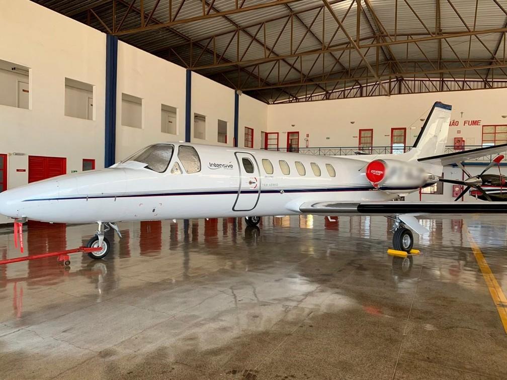 Aeronave apreendida no Distrito Federal durante operação da Polícia Federal contra o tráfico internacional de drogas, nesta terça-feira (18) — Foto: Polícia Federal/Divulgação