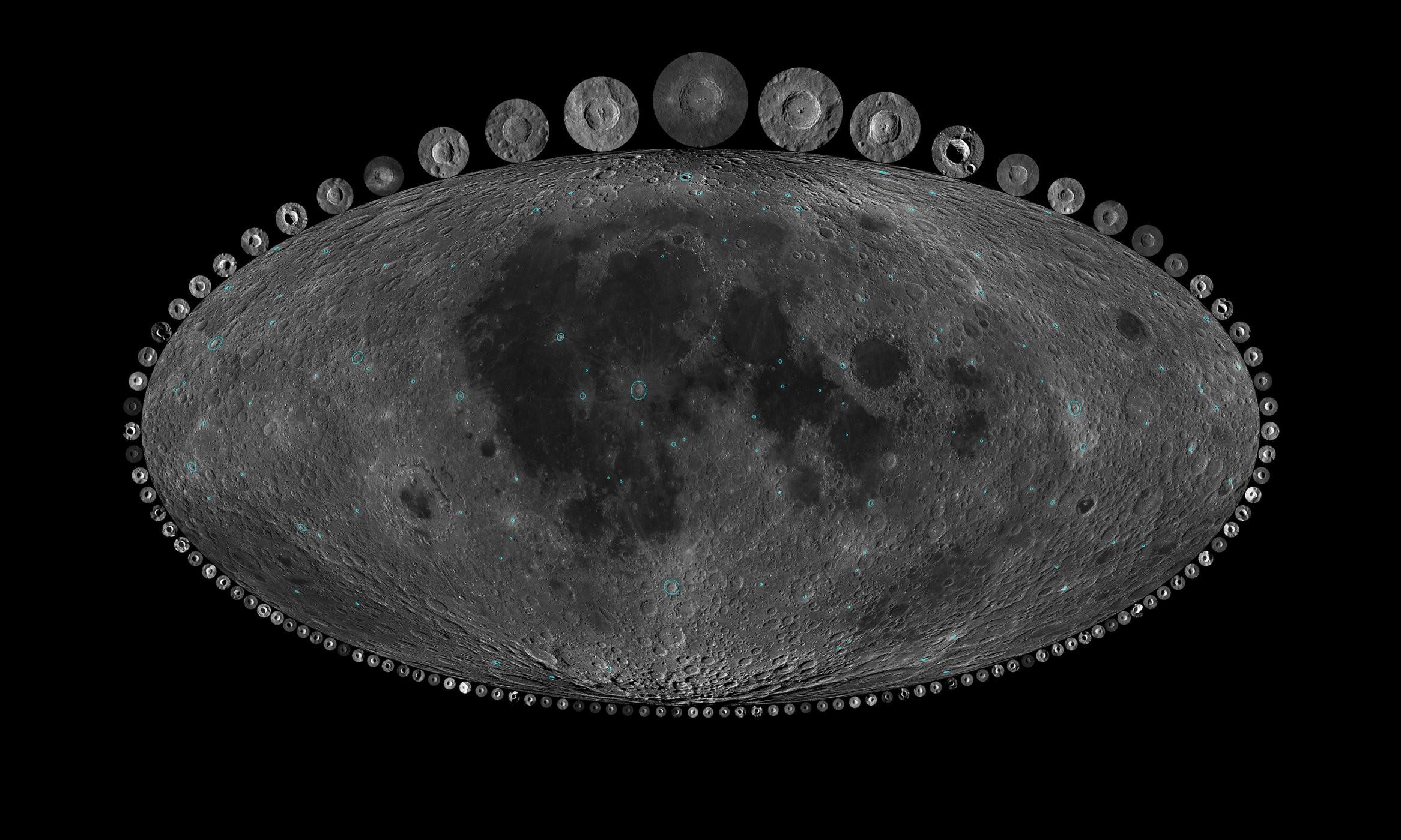 Mapa das crateras lunares com mais de 10 km de diâmetro e com menos de 1 bilhão de anos (Foto: Dr. A Parker/Southwest Research Institute)