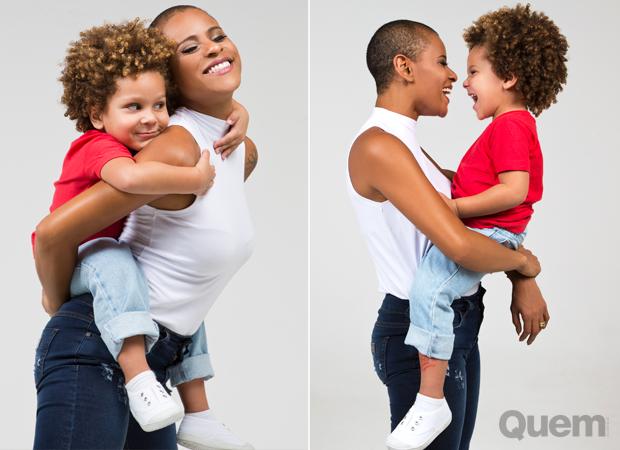 Aline Wirley com o filho, Antônio (Foto: Anna Fischer)