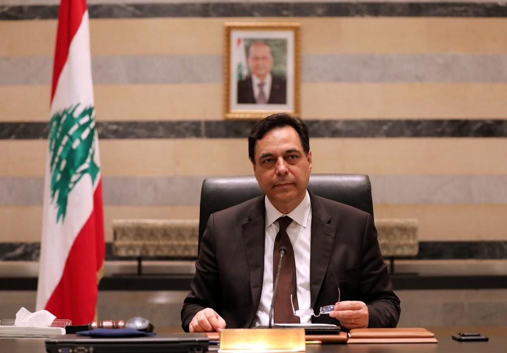 Hassan Diab no palácio de governo do Líbano, em 10 de agosto de 2020 — Foto: Mohamed Azakir/Reuters