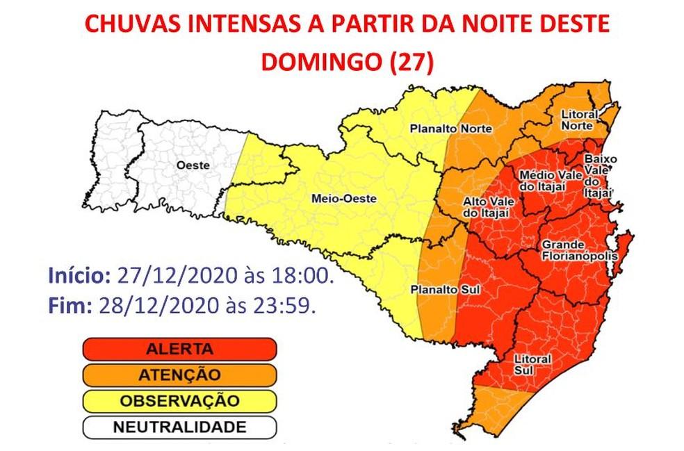 Defesa Civil de Santa Catarina fez alerta para fortes chuvas a partir da noite deste domingo (27) — Foto: Reprodução/Defesa Civil