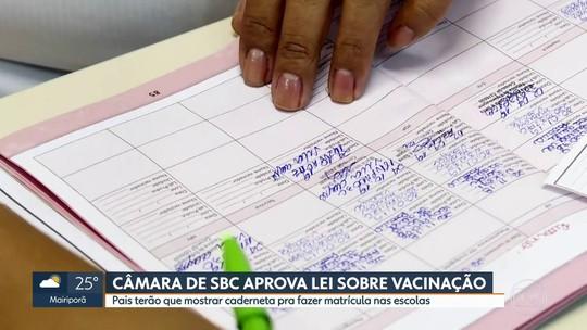 Câmara de São Bernardo aprova lei que exige carteira de vacinação para matrículas em escolas