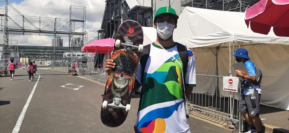 Kelvin Hoefler após o primeiro treino em Tóquio — Foto: Lorena Dillon
