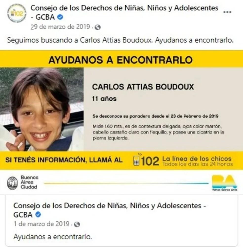 Quando Carlinhos desapareceu, um alerta foi publicado pelo Conselho dos Direitos das Meninas, Meninos e Adolescentes da Argentina — Foto: Reprodução