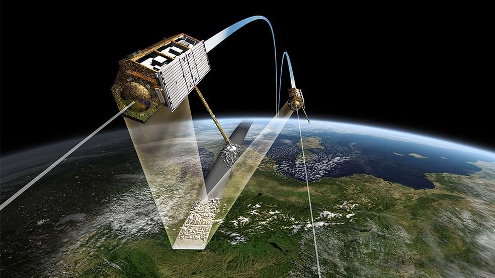Os satélites orbitam quase lado a lado a cerca de 500 quilômetros da superfície da Terra — Foto: DLR/BBC
