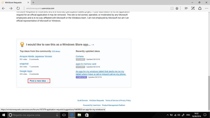 Usuário deve clicar em link para postar nova sugestão de apps (Foto: Reprodução/Elson de Souza)