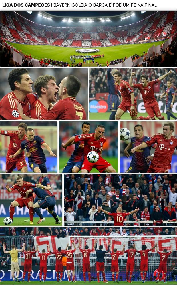 Mosaico Bayern de Munique x Barcelona (Foto: Editoria de Arte)