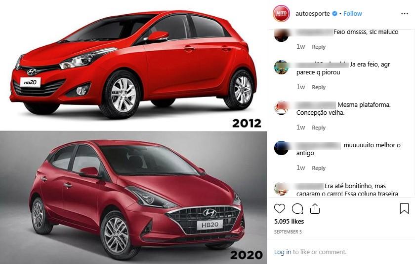Críticas têm o mesmo teor no Instagram (Foto: Captura de tela/Autoesporte)