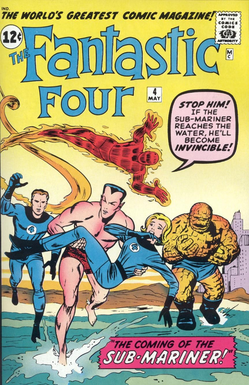 Capa de edição dos anos 1960 de Quarteto Fantástico, criada por Stan Lee e Jack Kirby (Foto: Divulgação)