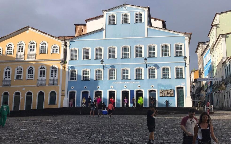 Largo do Pelourinho, onde Anitta grava clipe em Salvador nesta quinta-feira (13) — Foto: Itana Alencar/G1
