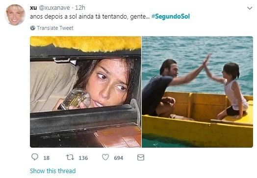 Internauta brinca com homem que apareceu em cena em 'Segundo Sol' (Foto: Reprodução / Twitter)