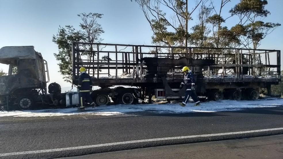 Caminhão que pegou fogo, na manhã desta segunda-feira (11) (Foto: Vanessa Rumor/RPC)