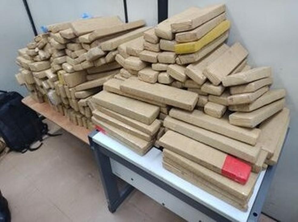 Na MG-050 os policiais encontraram 230 quilos de maconha dentro de um veículo — Foto: Divulgação/PMMG