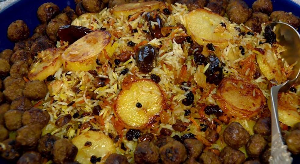 Arroz de joias é receita saborosa típica da gastronomia persa — Foto: Edvaldo de Souza/TG
