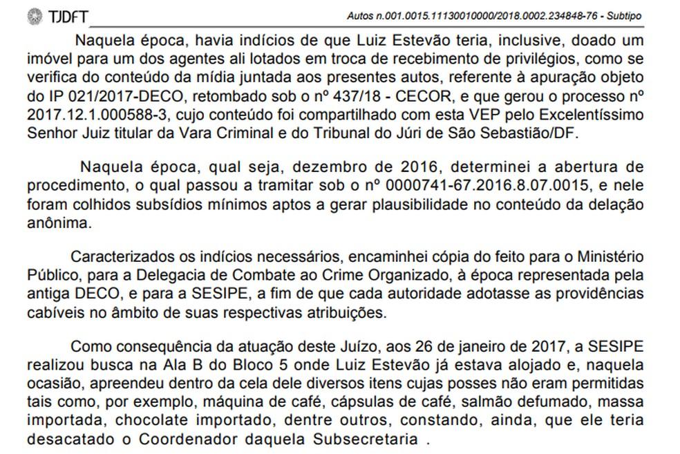 Trecho da decisão que fala sobre suposta doação de imóvel de Luiz Estevão — Foto: Reprodução