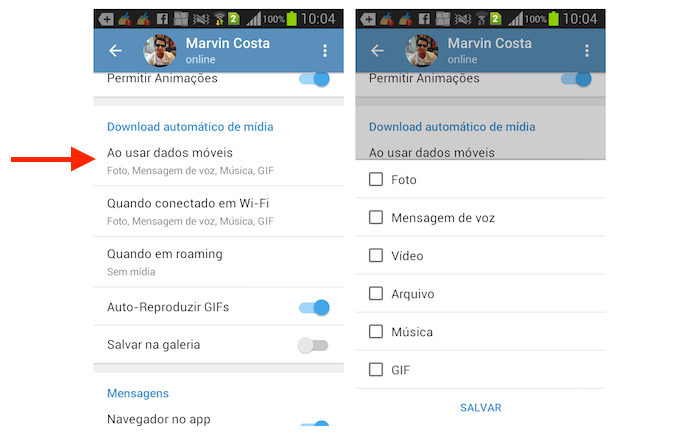 Desativando o download de mídia do Telegram no Android (Foto: Reprodução/Marvin Costa)