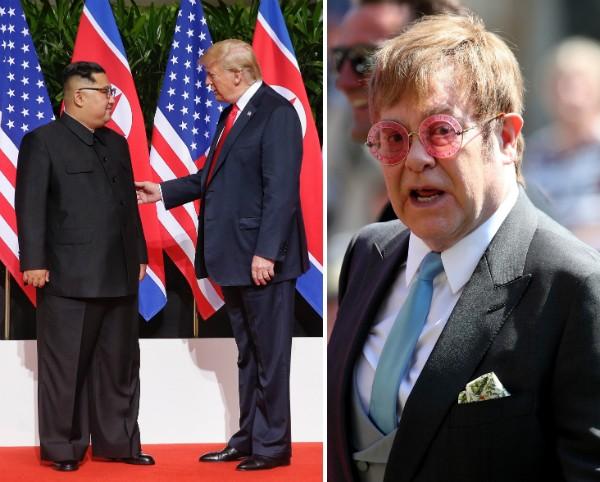 O músico Elton John e os líderes da Coreia do Norte e Estados Unidos, Kim Jong Un e Donald Trump (Foto: Getty Images)