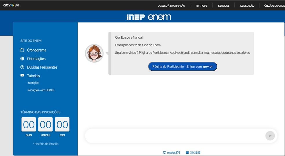 Página do Participante: https://enem.inep.gov.br/participante — Foto: Captura de tela
