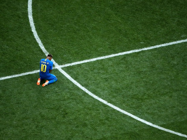SAINT PETERSBURG, RUSSIA - JUNE 22:  Neymar Jr of Brazil reacts following his sides victory in the 2018 FIFA World Cup Russia group E match between Brazil and Costa Rica at Saint Petersburg Stadium on June 22, 2018 in Saint Petersburg, Russia.  (Photo by  (Foto: Getty Images)
