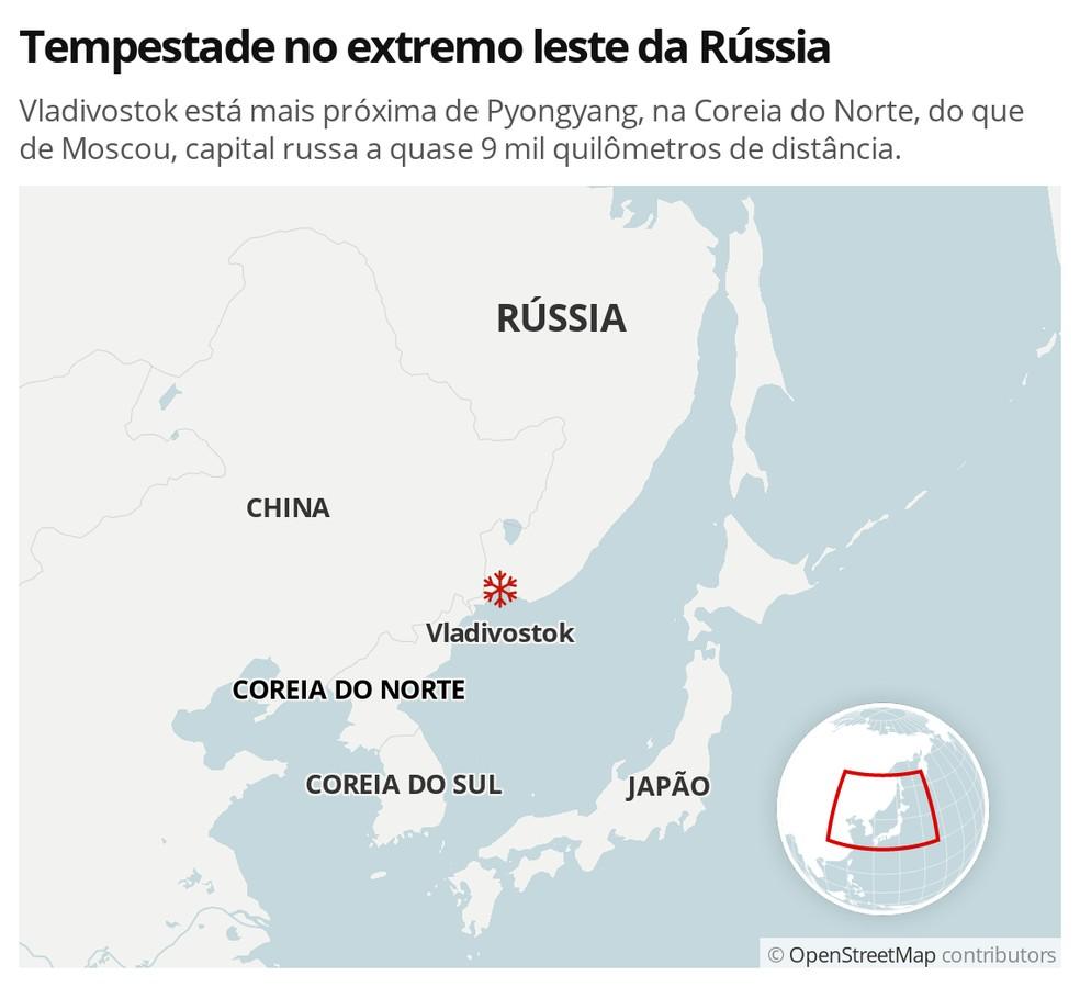 Localização de Vladivostok - MAPA — Foto: G1 Mundo