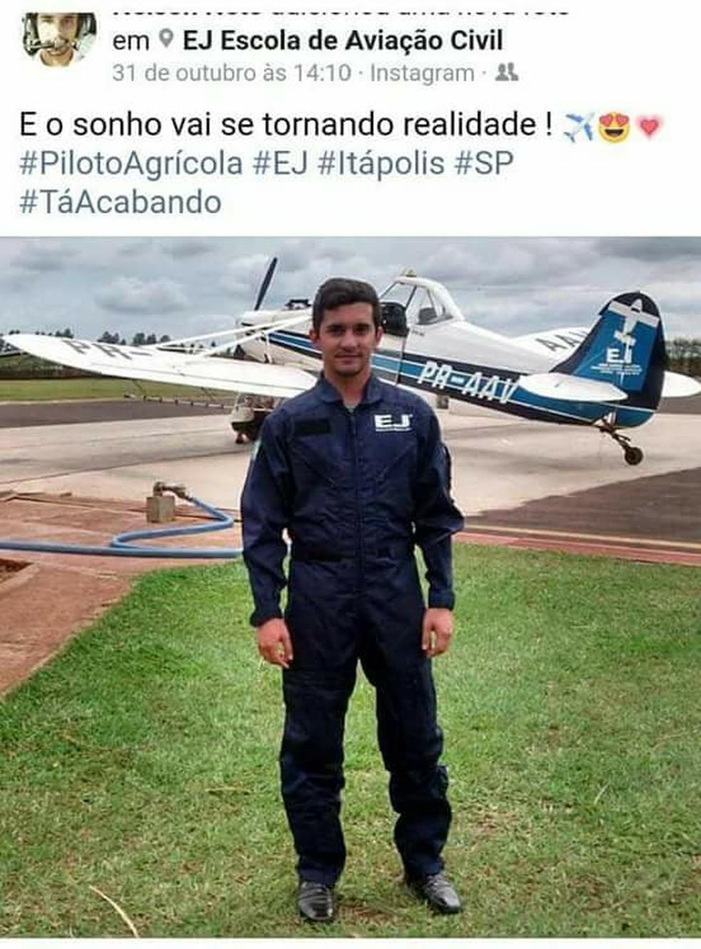 Piloto do Tocantins morreu em acidente no interior de São Paulo (Foto: Reprodução/Facebook)