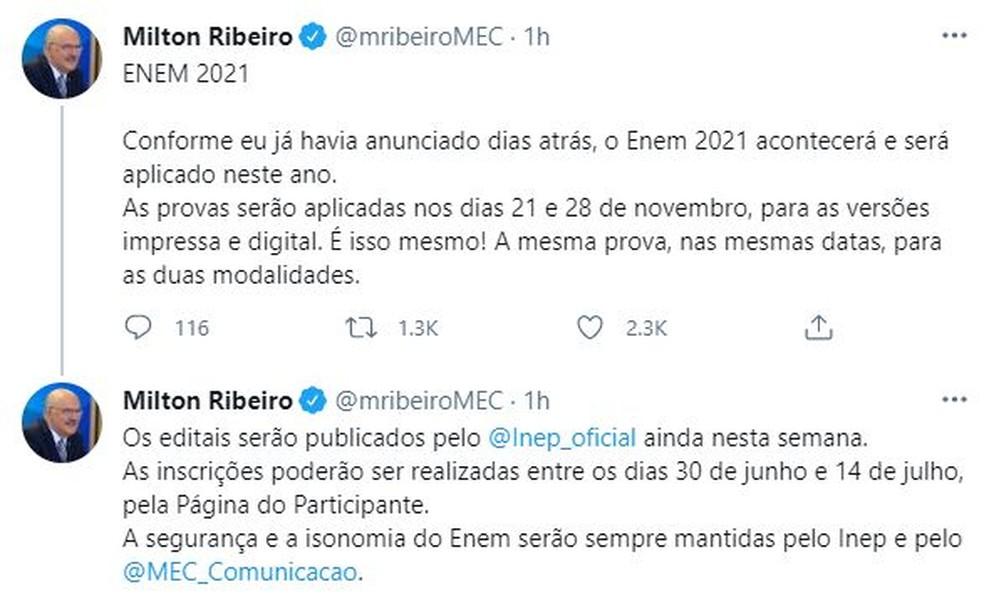 Posts no Twitter do ministro Milton Ribeiro com a data do Enem — Foto: Reprodução