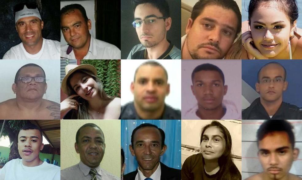 Algumas das vítimas da violência em fevereiro cujos casos foram registrados pelo G1 (Foto: Montagem de fotos/G1)