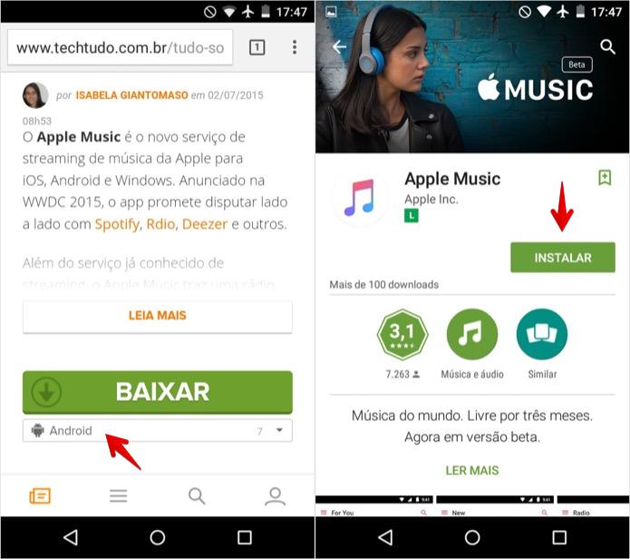Instalando o Apple Music no Android (Foto: Reprodução/Helito Bijora)