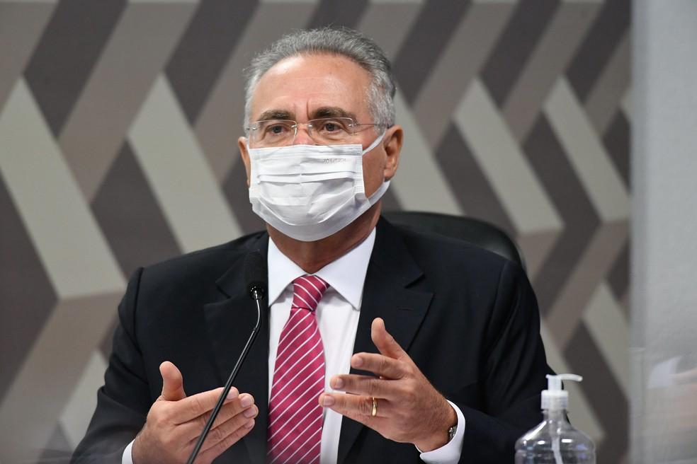Renan Calheiros na CPI da Covid — Foto: Jefferson Rudy/Agência Senado