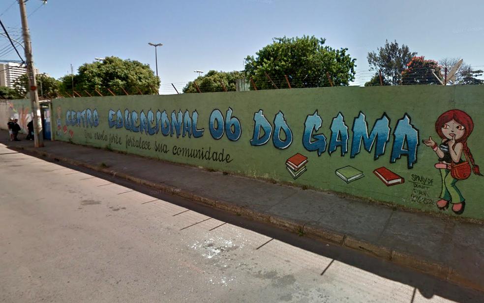 Fachada do Centro Educacional 6 do Gama, em Brasília (Foto: Google Maps/Reprodução)