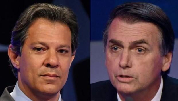 Fernando Haddad diz que os governos do PT foram os que mais combateram a corrupção, enquanto Jair Bolsonaro (PSL) vincula o enfrentamento à corrupção ao combate direto ao PT (Foto: Getty Images via BBC)