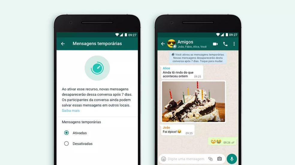 WhatsApp libera mensagens que somem após sete dias automaticamente — Foto: Divulgação/WhatsApp