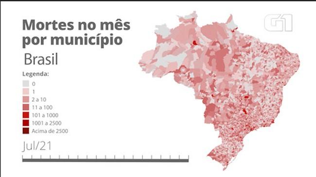 BRASIL: mortes por Covid por município mês a mês