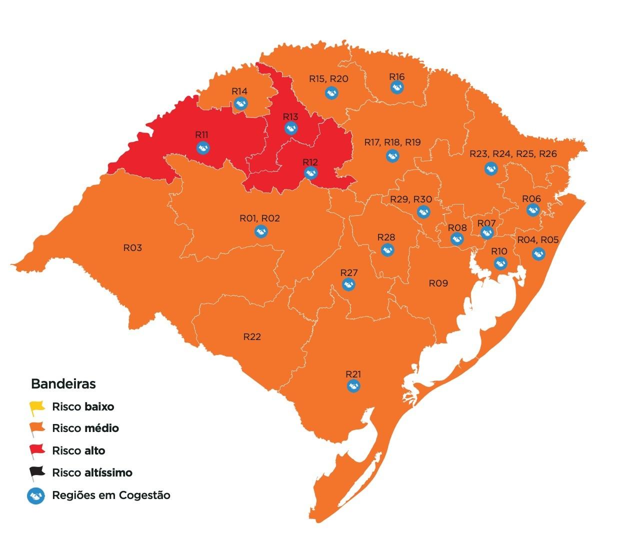 Cruz Alta, Ijuí e Santo Ângelo voltam à bandeira vermelha no mapa do distanciamento controlado